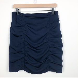 Nanette Lepore Navy Blue Runched Pencil Skirt